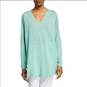 Eileen Fisher Linen Cotton Mint V-neck sweater XS